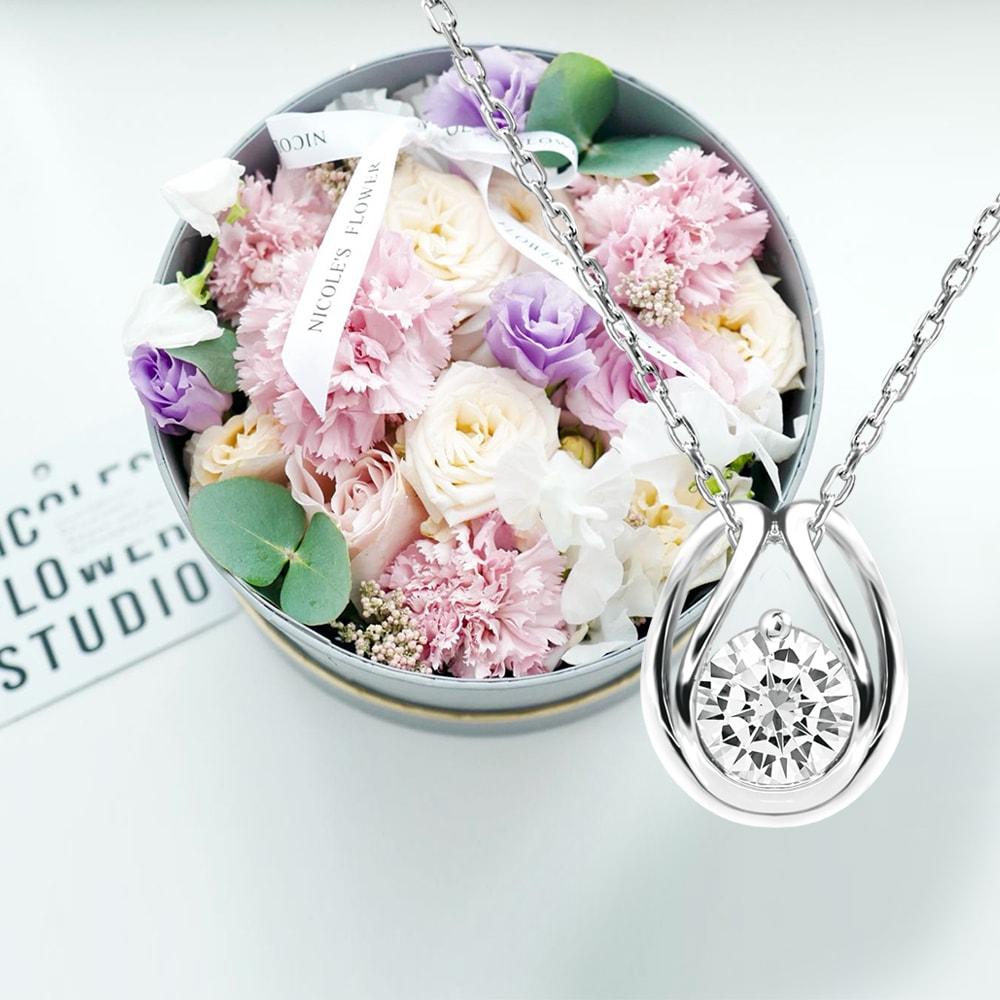 Floral Box and Diamond Simulant Pendant